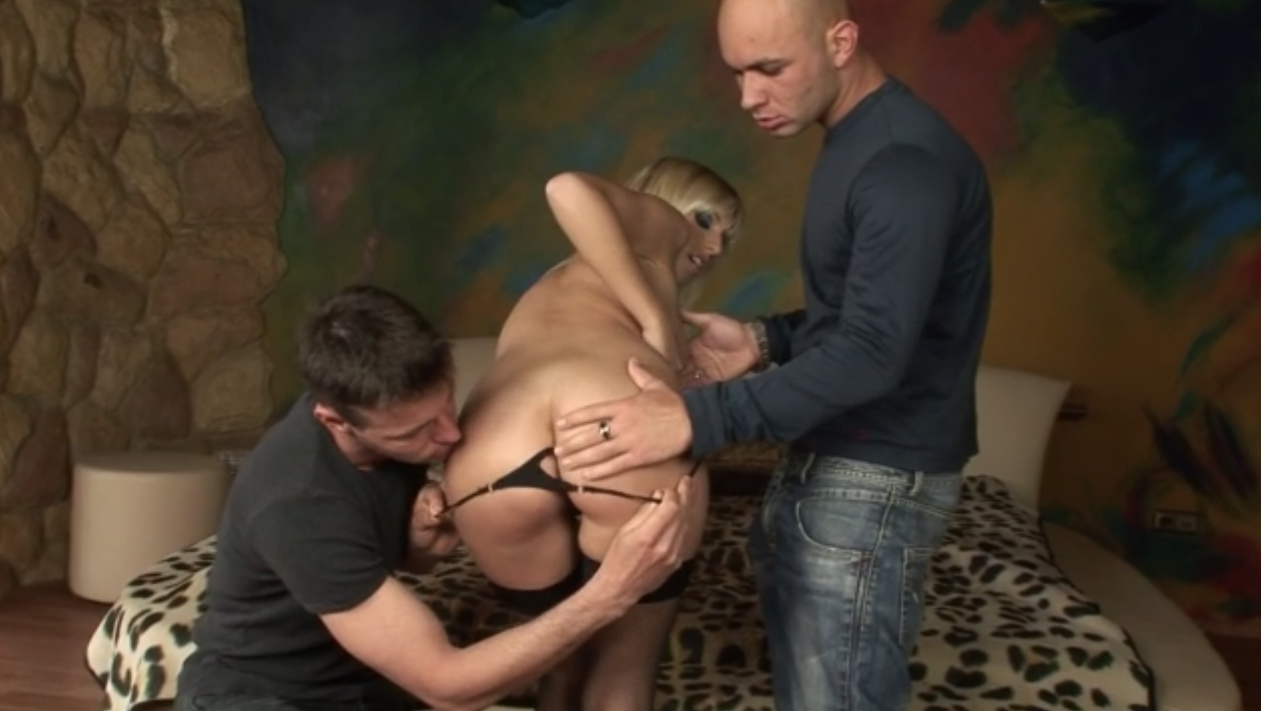 Hot blonde double penetrated by two large cocks